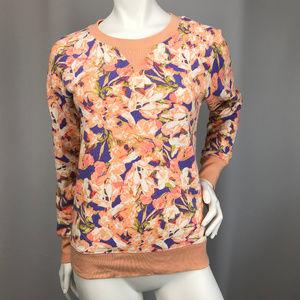 J Crew XS  Floral Crew Neck Sweatshirt Pullover